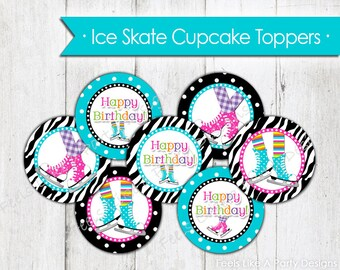 Ice Skating Cupcake Toppers - Instant Download