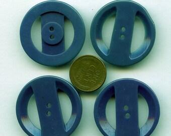 "Set of (3+) Double Cut Teal Blue Vintage 1940s Casein Buttons 1 5/16"" 5059"