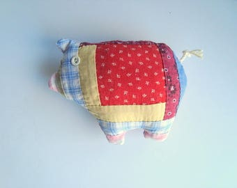 Farmhouse vintage quilt little pig pillow