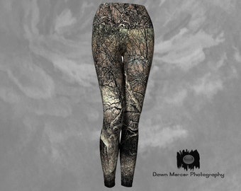 Energy Tree Yoga Pants Tree Leggings Artsy Tights Workout Leggings High Waisted Wide Waistband, Compression Fit, Tree Art Print Design