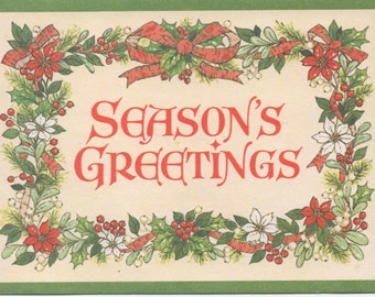 Season's Greetings Christmas Card, Used, from Christmas Originals, c1970s, good shape, Vintage