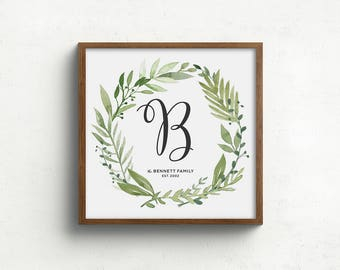 Family name print, first anniversary gift, family monogram print, custom home decor, housewarming gift, modern farmhouse wall decor,unframed