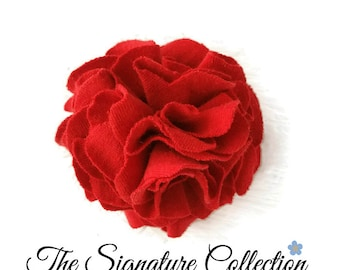 Carnation Flower Lapel Pin and Clip - Red Fabric Flower - Hair Accessories - Flower Accessories