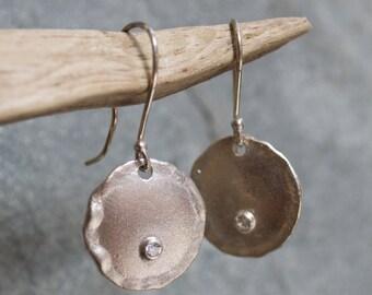 Silver disc earrings, zircon earrings, bridal jewelry, Brushed silver earrings, shiny silver earrings,  stone earrings - Emotions E2087