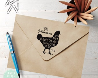 Rooster return address stamp, wood handle stamp, Rooster Theme Large Custom Address Stamp, Rooster Gift style 1003 - Lovely Little Party