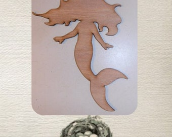 Baby Mermaid  (Large ) Wood Cut Out -  Laser Cut