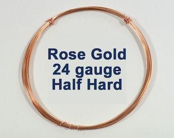 Rose Gold Filled Wire - 24ga HH Half Hard - Choose Your Length