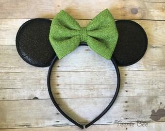 Green Minnie Ears - Green Bow Minnie Ears - Disney Ears Headband - Kids Minnie Ears - Baby Disney Ears - Minnie Mouse Ears Baby - Tiana Ears