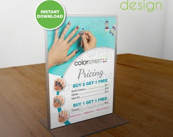 Color Street Nails, Pricing, Specials, Flyer/Poster, Pacific Waters - PRINTABLE Digital File