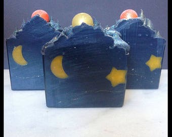 Once Upon A Moonlit Night - Artisan Bar Soap - Handmade Soap - Autumn Soap - Moon - Stars -