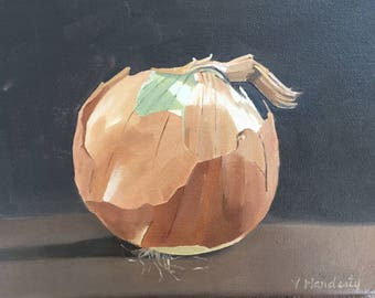 Brown Onion 10x8 original oil painting, onion art,food art, kitchen art, vegetable art, still life art