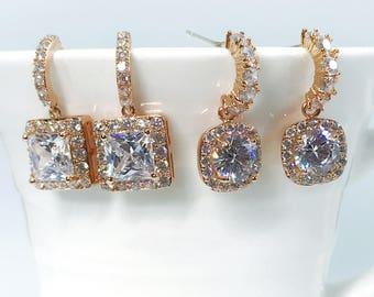 Rose gold Bridal Earrings Wedding Earrings Birthday Earrings Cubic Zirconia 2 shape Round and Princess Cut