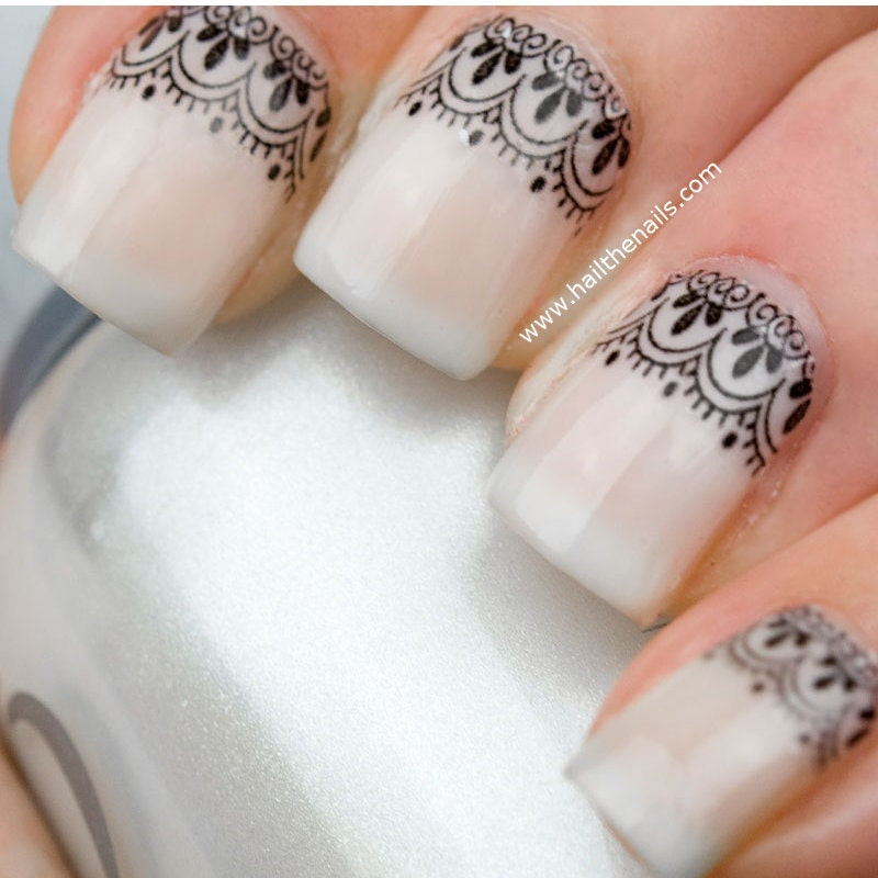 Black Lace Nail Art Water Transfer Decal YD10