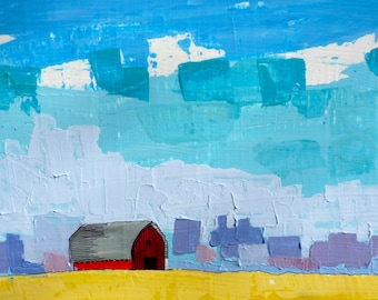 Simple Prairie Landscape II (Series 2) original painting, Big Painting, original landscape painting, red barn painting