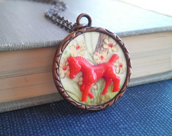 Vintage Horse & Flowers Charm Necklace - Floral Paper Ephemera Mini Red Horse Button Diorama Pendant - Retro Equestrian Animal Jewelry Gift