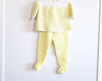 Vintage Yellow and White Knit Outfit