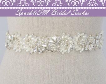 Pearl Bridal Sash, Rhinestone Belt, Rhinestone Sash, Jeweled Bridal Sash, Bridal Belt, Crystal Dress Sash, Bridesmaids Sash, Wedding Sash