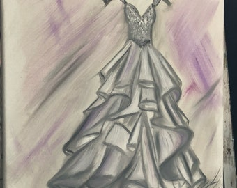 """Oil Painting of Your Wedding Dress - Custom Painting 16"""" x 20"""" or 18"""" x 22"""" • Wedding Gown • Bridal Shower • Engagement Gift • Wedding Gift"""