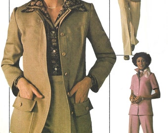 1970s Jiffy Top Pattern Vintage Sewing Simplicity Back Zip Pants Uncut Women's Misses Size 18 Bust 40 Inches