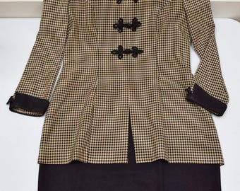 Plaid Brown and Black Vintage 80s Office Work Dress Size 10, Women Large Dress, 80s Clothing, Dress for Work, Houndstooth Long Sleeve Dress