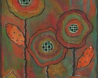 Boho flower wall art, gypsy flower wall art, bohemian flower art, colorful flower wall art, floral inspirational art, soul growth, garden