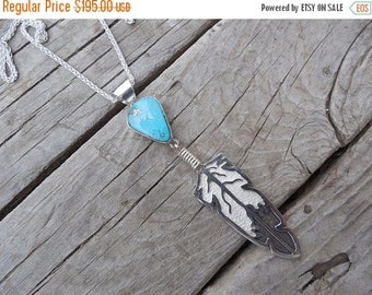 ON SALE Turquoise necklace handmade and signed in sterling silver by Jonathan Mike a Navajo silversmith