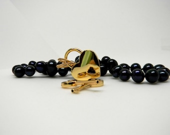 Discreet Slave Collar Black Iridescent Freshwater Potato Pearls 9-10mm  Hand Knotted Silk with 14kt gold fill ends & Gold Tone Heart Lock