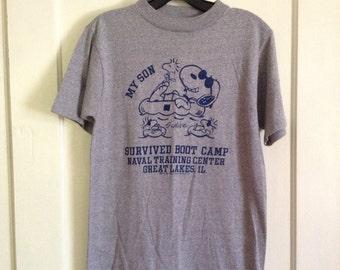 Vintage 1970's Snoopy Woodstock Boot Camp Naval Training souvenir t-shirt size Medium feels triblend