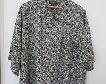 Plus Size Hawaiian Shirt REPP LTD. Mens Hawaii Shirt Tropical Fish Minnow Skipper Sized Aloha Shirt Big Camp - 6XB - Oahu Lew's Shirt Shack