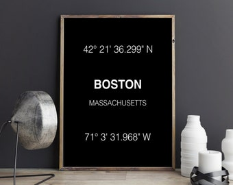 Boston Print, City Coordinates, Art Print, Wall Art, Typograhie, Wall Decor,  Home Decor, City Print, Printable Art, Digital Download, Gift