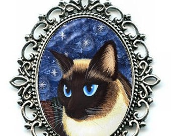 Siamese Cat Necklace Seal Point Siamese Cat Cameo Pendant 40x30mm Gift for Cat Lovers Jewelry