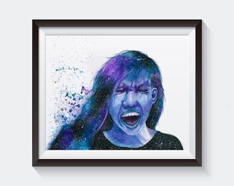 Scream Print of Original Watercolor Painting Space Galaxy Stars