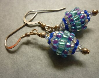 Blue beaded bead earrings with sterling silver ear wires