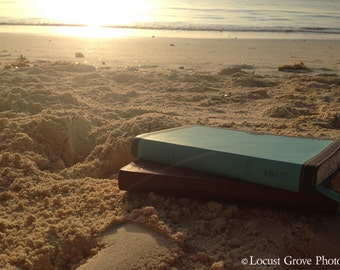 Photography Print, Bible on the Beach, Beach Photography, Fine Art, Wall Art, Neutral Home Decor