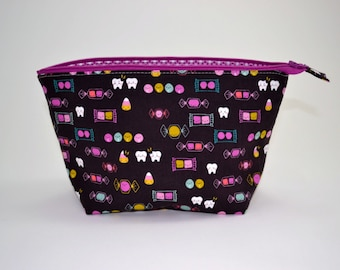 Halloween Candy Makeup Pouch, Zipper Bag, Gifts for Her, Open Wide Zipper Pouch, Cosmetic Bag, Teacher Gift