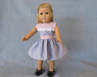 "Valentine's Day Heart and Polka Dot 18"" Doll Dress"