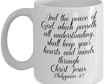 kjv Scripture mug, And the peace of God, which passeth all understanding, shall keep your heart and minds through Christ Jesus. Philippians