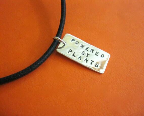 Men's/Unisex-Recycled Sterling Powered by Plants/Vegan reversible pendant-Vegan Necklace-Gift-Birthday-Anniversary-Vegan Dad-Valentine's Day