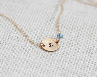Gold Birthstone Necklace, Hammered Gold Disk Initial, Personalized Disc Birthstone Jewelry, Swarovski crystal, Gold Filled