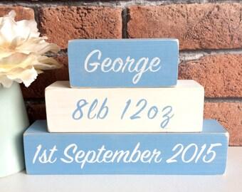 Personalised Hand Painted Wooden Newborn New Baby Boy Name Blocks Shelf Sitter