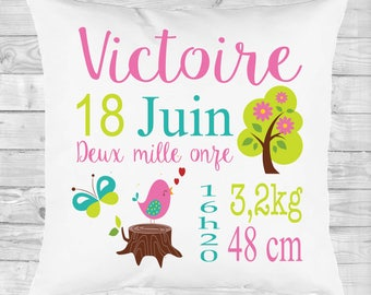 Pillow personalized gift birth, deco room, forest, bird, butterfly