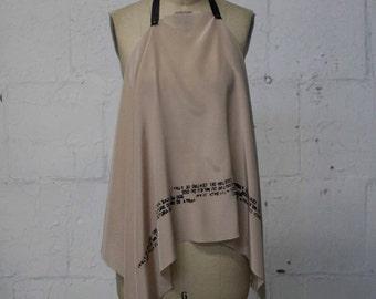 Blush Silk Text Scarf, Black Leather trim, Women's Fashion Edgy Scarves
