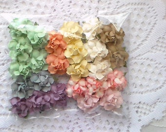 25 Paper Flowers, Pastel Mulberry Small Paper Flowers,  Mixed Rainbow Flowers, Scrapbooking Flowers