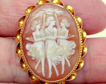 Carved Shell, Antique Cameo, Brooch/Pendent, Solid 10K Gold Setting, Italian Cameo, Hand Carved, Three Graces