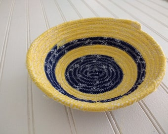 """6"""" Coiled Fabric Bowl - Blue and Yellow Stripes"""