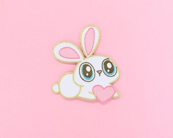 Cute Kawaii Bunny Embroidered Iron-On Patch