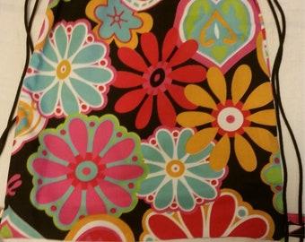 Drawstring backpacks, flower power