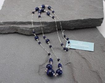 Lapis Lazuli Necklace, Lapis Lazuli Beaded Necklace, Natural Blue Stones Sterling Silver Lapis and Silver Long Chain Necklace Lapis Necklace