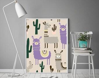Lama Wall Art Tribal decor Girl's Nursery art gift for baby girl baby sign Baby girl birthday 1st birthday baby shower gift for goddaughter