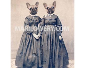 French Bulldog 8 x 10 Inch Print, Twin Sisters, Dog Art Print, Nursery Decor, Animal Portrait, Collage Art Print, Year of the Dog